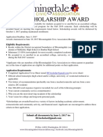 Bloomingdale Civic Association Scholarship Flyer 2017