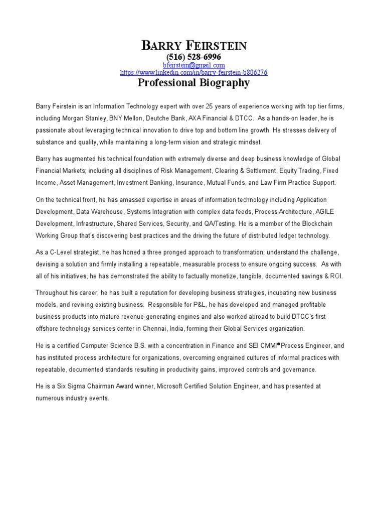 Barry FeirsteinPro Bio | Investment Banking | Technology