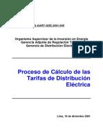 Proceso de Calculo de Las Tarifas de Distribución Electrica - 2001