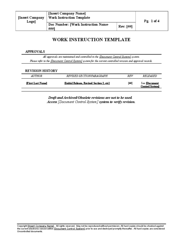 Sop Work Instruction Template Intellectual Works Computing