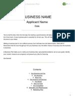 Start Up Loans Business Plan Template