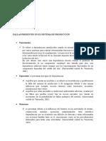 Clasificación de Las Fallas Presentes en Un Sistema de Producción