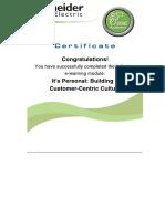 Customer Centric Course Certificate