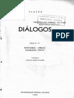 Platão Diálogos_ Protágoras Górgias O Banquete Fedão. III IV Editora UFPA (1980)
