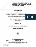 HOUSE HEARING, 105TH CONGRESS - FULL COMMITTEE HEARING TO RECEIVE UPDATES ON RESEARCH, INVESTIGATIONS, AND PROGRAMS INVOLVING PERSIAN GULF WAR VETERANS' ILLNESSES
