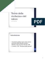 Teorie Della Ricchezza e Del Valore