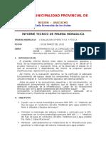 Informe Prueba Hidraulica