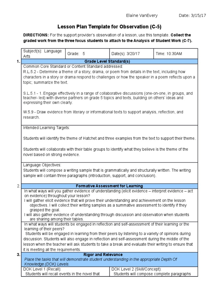 Sample Standard Lesson Plan Educational Assessment Lesson Plan - Sample common core lesson plan template