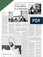 """Rubio Campos, Jesús (2008) """"Carece Mexico de Politica para Regularizar Informales"""" Periodico El Norte. Sección Negocios. p. 6 Lunes 26 de Mayo del 2008."""