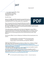 March 24, 2017 - American Oversight Letter to Treasury Regarding Secretary Mnuchin