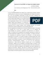 La Sociedad Unipersonal en La Ley 26.994 y Los Riesgos de Un Régimen Abierto