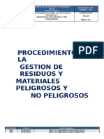 6.-Procedimiento Para La Gestion de Residuos y Materiales Peligrosos y No Peligrosos