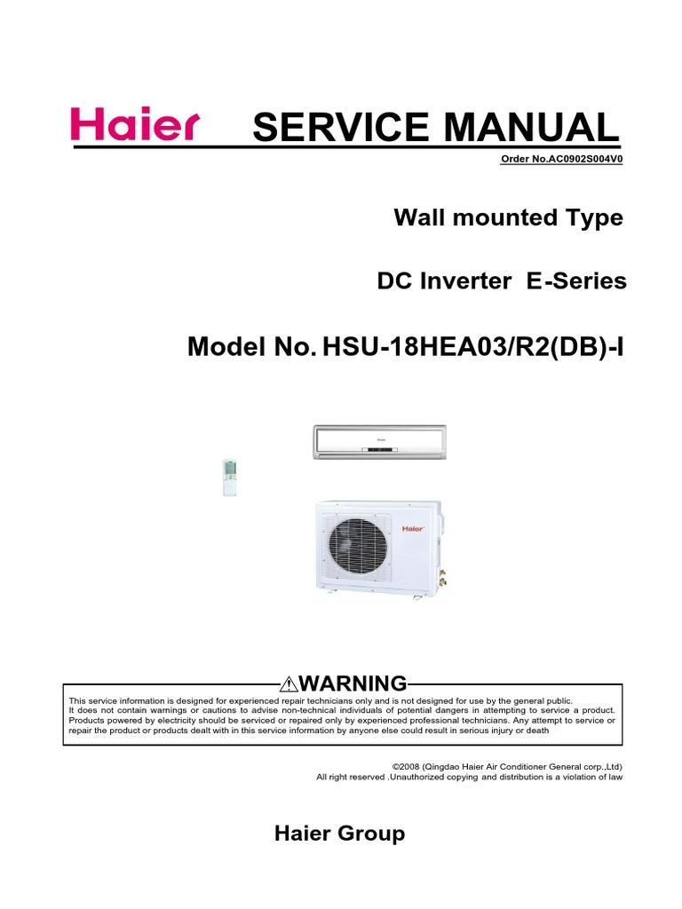 haier hsu18hea03 pdf air conditioning hvac rh pt scribd com haier mrv service manual haier mrv service manual