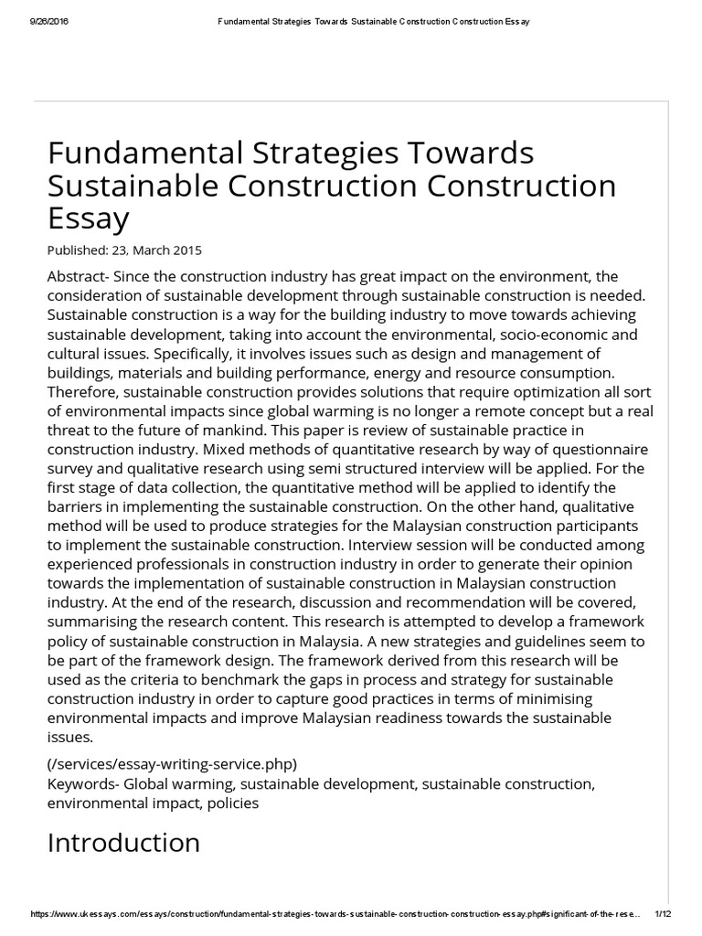 Fundamental Strategies Towards Sustainable Construction ...