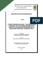 Clima Organizacional y Satisfacción Laboral en Los Trabajadores Del Instituto de Investigaciones de La Amazonía Peruana, Período 2013