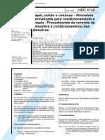 NBR 06740 - Papel Cartao e Celulose - Atmosfera Normalizada Para Condicionamento e Ensaio - Proce
