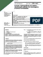 NBR 11421 Pb 1497 - Tecnicas Criptograficas de Dados - Autenticacao Padrao de Mensagens Banc