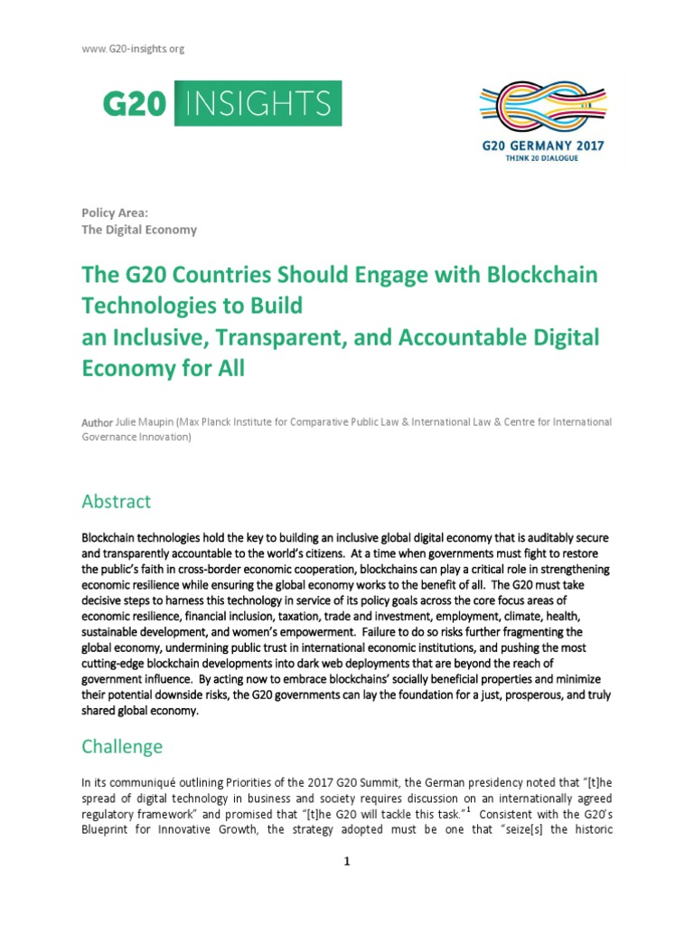 The g20 countries should engage with blockchain technologies to the g20 countries should engage with blockchain technologies to build an inclusive transparent and accountable digital economy for all blockchain malvernweather