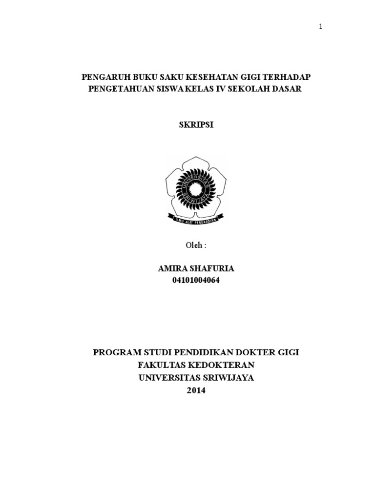 Pengaruh Buku Saku Kesehatan Gigi Terhadap Pengetahuan Siswa Kelas IV SD 584effecb0