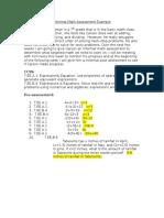 informal math assessment example