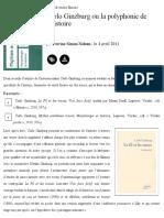 Carlo Ginzburg Ou La Polyphonie de l'Histoire - La Vie Des Idées