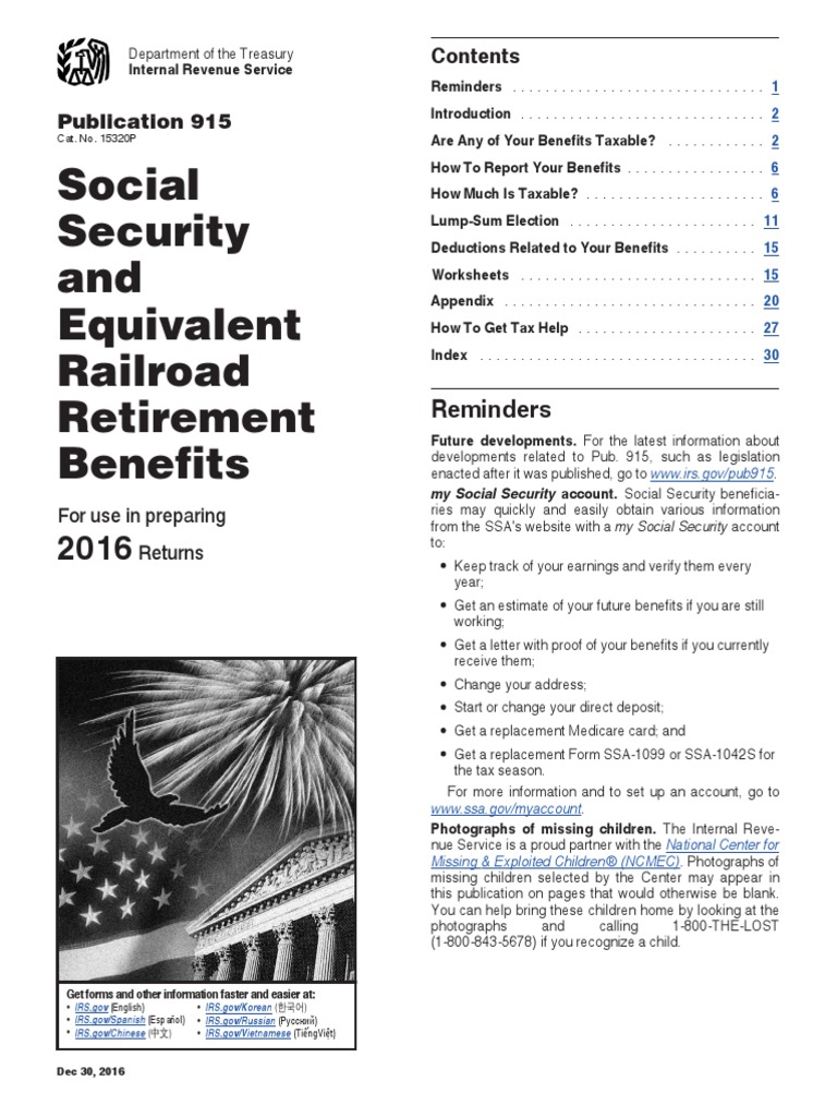 P915 Pdf Irs Tax Forms Social Security United States
