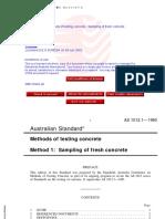 As 1012.1-1993 Methods of Testing Concrete - Sampling of Fre