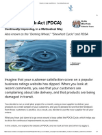Plan Do Check Act (PDCA) From MindTools