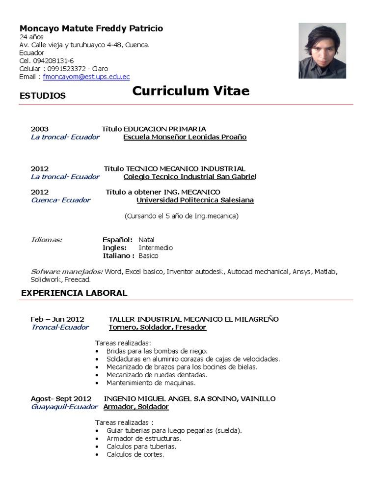 Vistoso Curriculum Vitae Para El Ayudante Del Soldador Elaboración ...