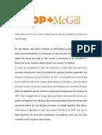 Lettre ouverte de NPD McGill