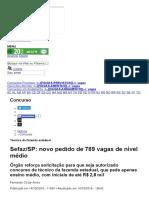 Concurso SEFAZ - Sefaz_SP_ Novo Pedido de 789 Vagas de Nível Médio _ JC Concursos