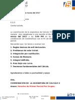 Comunicado 002 Coordinacion Calculo II 2017-1