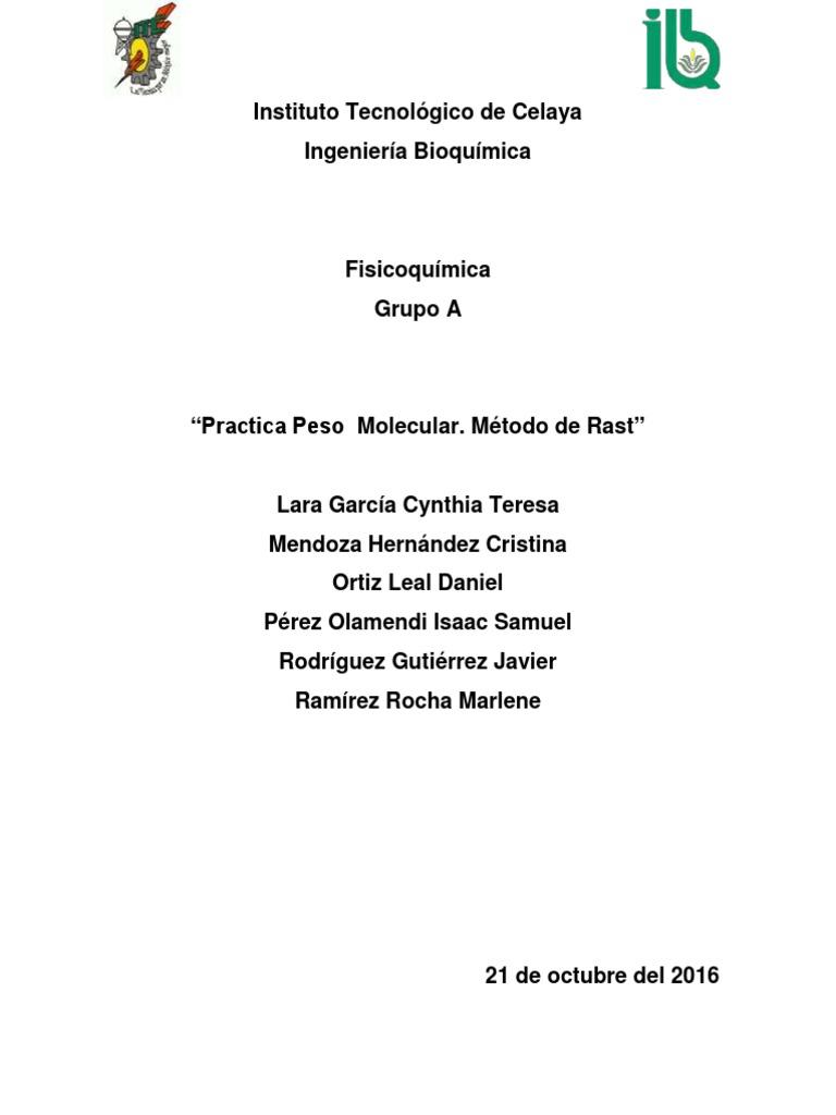 Practica 6 Peso Molecular Por Metodo de Rast