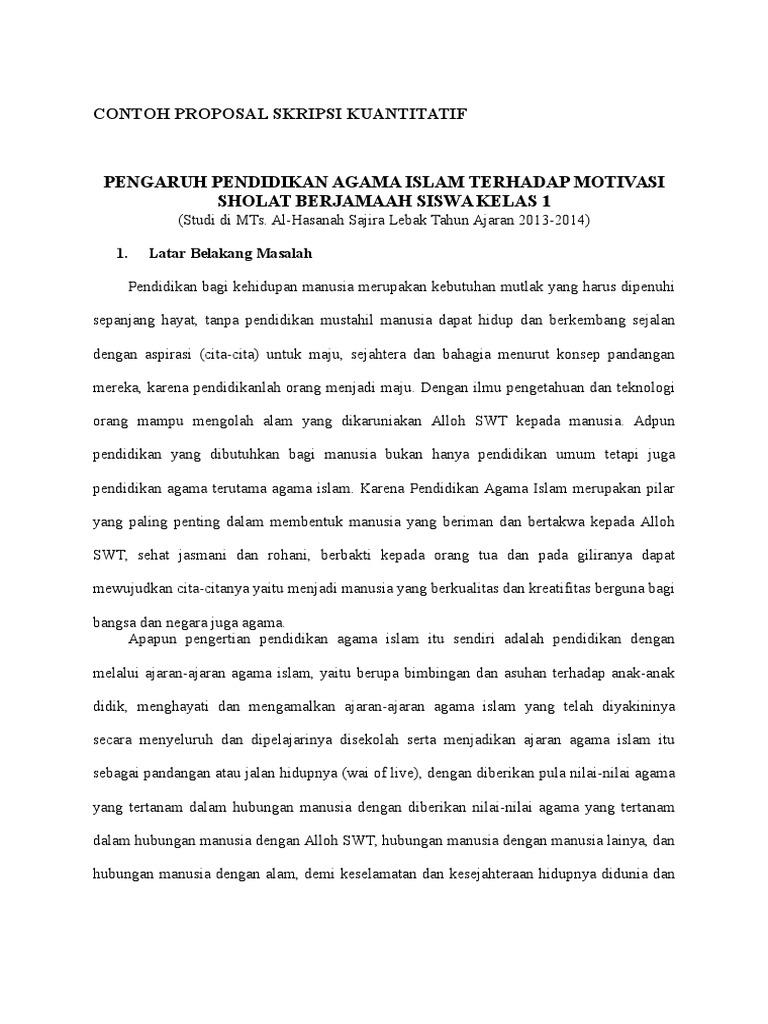Contoh Proposal Skripsi Kuantitatif