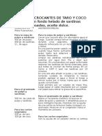 BOCADOS CROCANTES de TARO Y COCO Sobre Un Fondo Helado de Sardinas Asadas, Aceite Dulce.