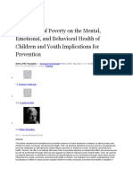 The Effects of Poverty on the Mental