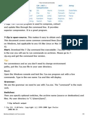 7 Zip Command Line Examples | Zip (File Format) | Command