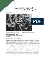 Bolshevik Opposition to Lenin