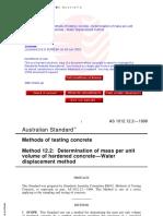 As 1012.12.2-1998 Methods of Testing Concrete - Water Dis