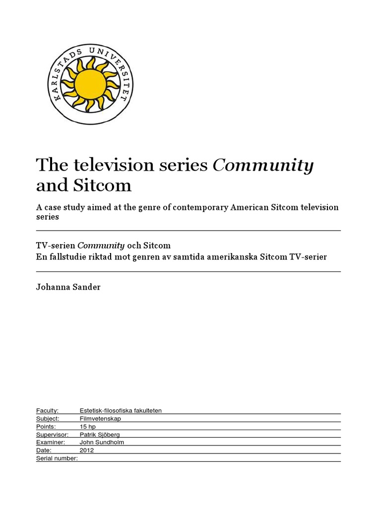 The Television Series Community And Sitcom Genre Semiotics