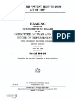 "HOUSE HEARING, 104TH CONGRESS - H.R. 2976, THE ""PATIENT RIGHT TO KNOW ACT OF 1996"""