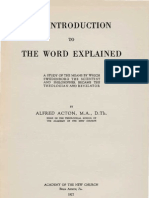 Alfred Acton an Introduction to THE WORD EXPLAINED Academy of the New Church Bryn Athyn PA 1927