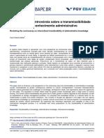 Revisitando a Controvérsia Sobre a Transmissibilidade Intercultural Do Conhecimento Administrativo