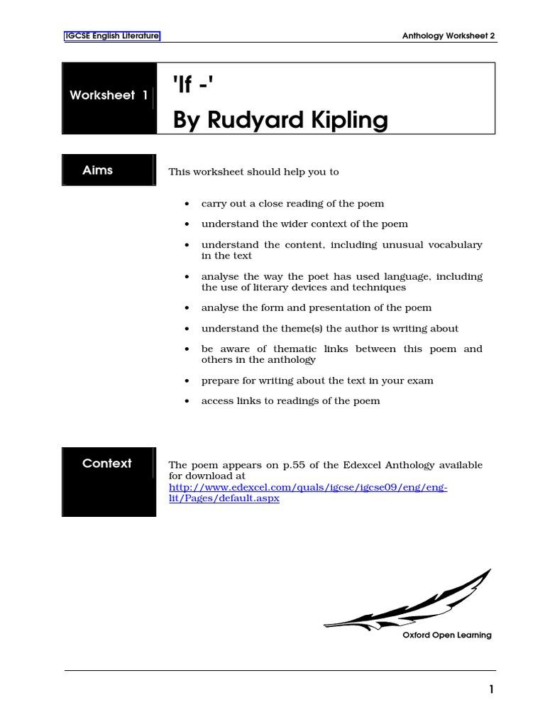 Workbooks personification worksheets pdf : if POEM SUMMARY.pdf | Rudyard Kipling | Poetry