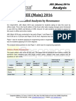 Jee Main 2016 Detailed Analysis by Resonance Eduventures
