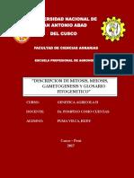 Genetica Agricola II (Mitosis, Meiosis, Gametogenesis y Glosario Fito Genetico) - Unsaac
