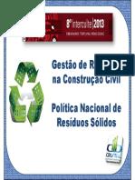 Aula - Gestão de Resíduos Na Construção Civil e a Pnrs