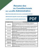 Quadro Resumo Dos Princípios Constitucionais Do Direito Administrativo