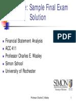 Sample Final Exam Solution
