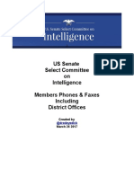 US Senate Select Intel Committee 2017- All Members Contact List With District Offices
